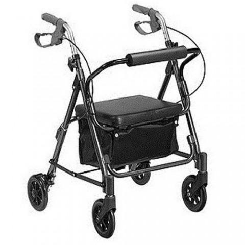 Andador de Alumínio para idoso com 4 Rodas e Assento